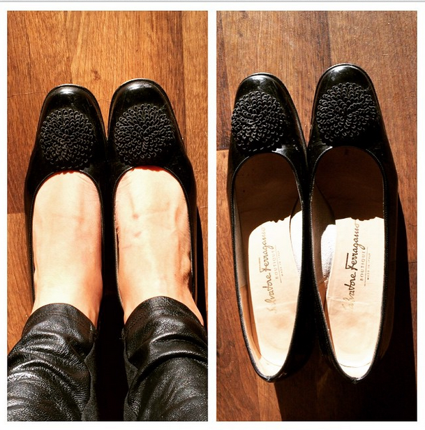 """playbymarly says """"I love the Gucci #Goodwill! My first pair of #Ferragamo pumps and vintage to boot! Who knew shoes could make a girl so happy!! #shoefie #Austin #thriftscore"""""""