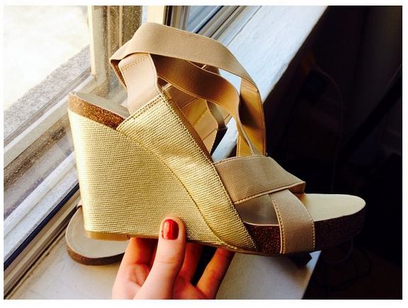 "christellegrob says ""Literally brand new. #ThriftFind #GoodWill #wedges #Shoes #BCBG #BCBGeneration #Gold #summer #strappy"""