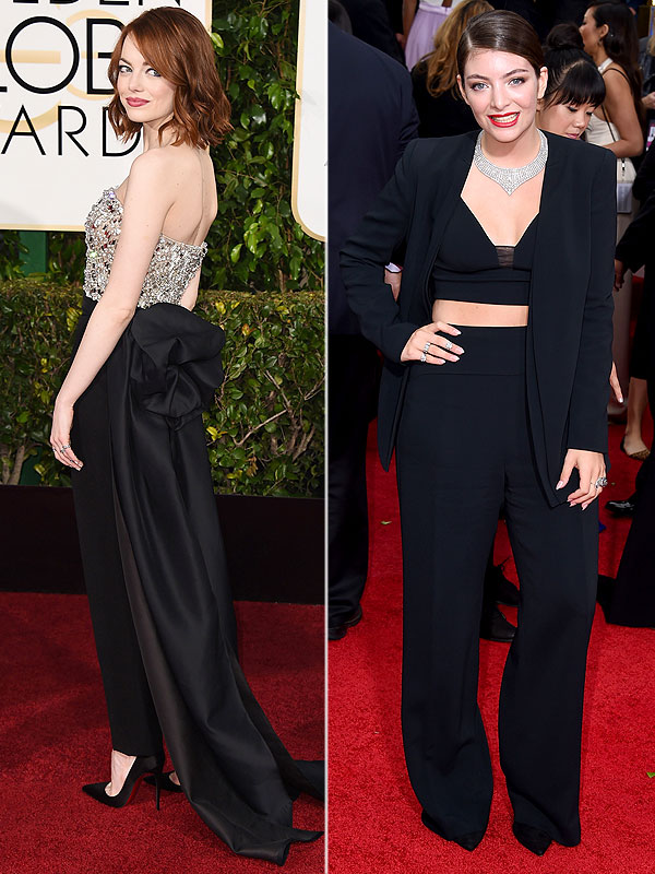 Emma Stone and Lorde at the 2015 Golden Globe Awards