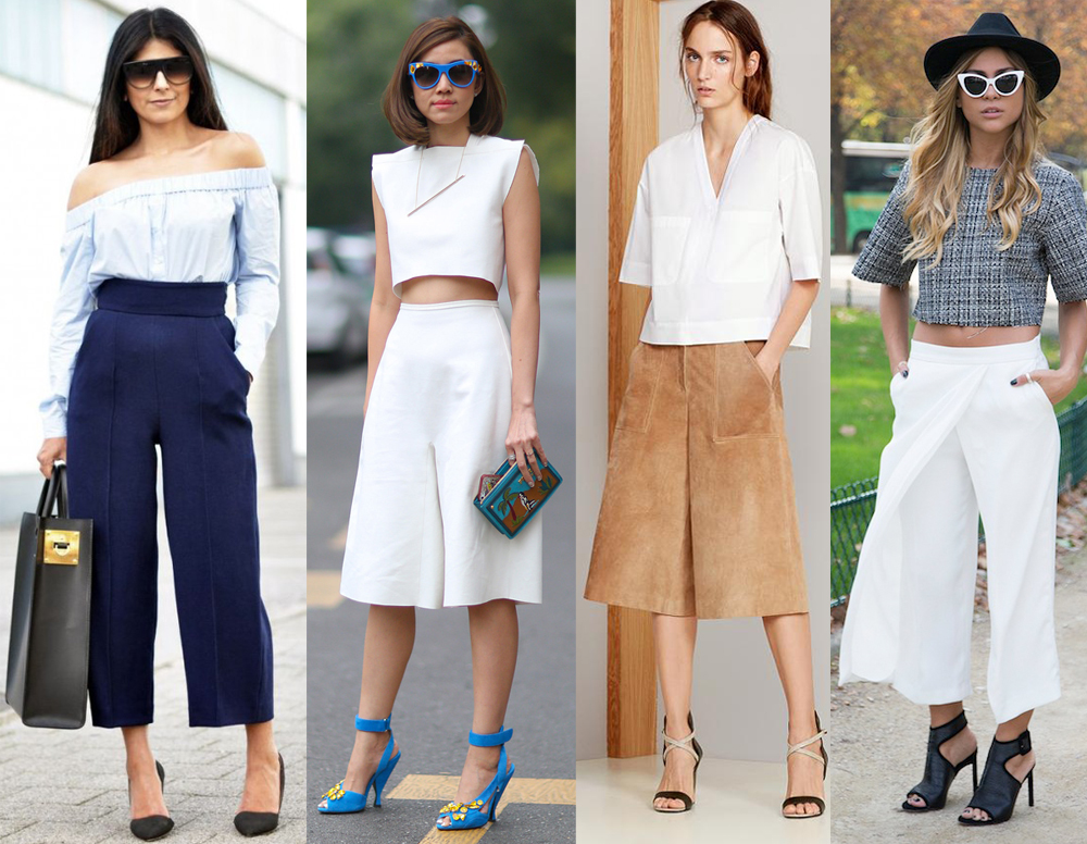 Various forms of culottes, collage via Fashion Trends and Tips blog.