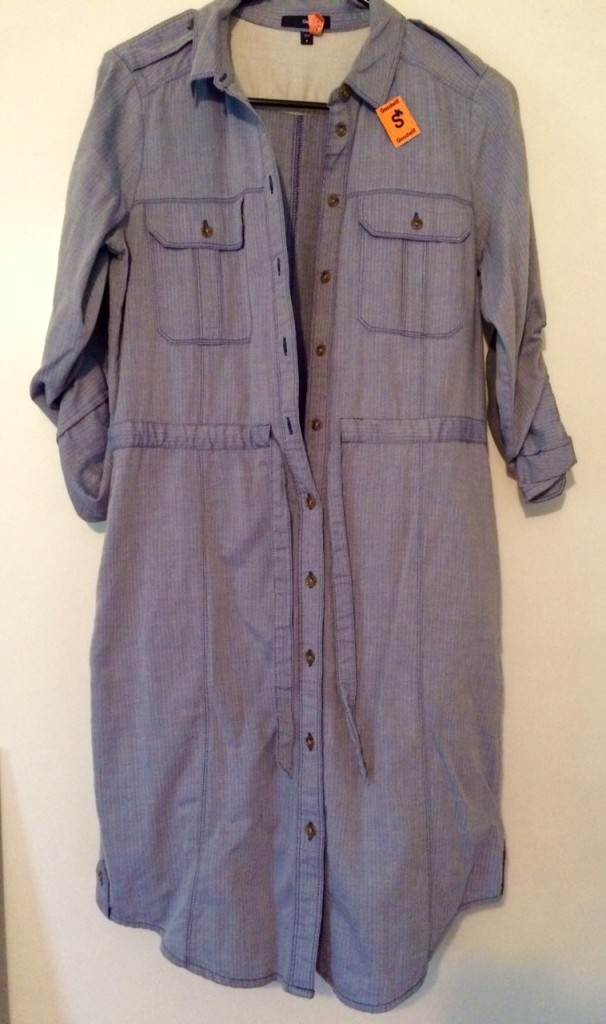 Here is my Goodwill Gap Chambray shirtdress!