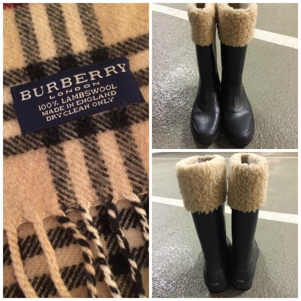 Burberry scarf and Ugg wellies