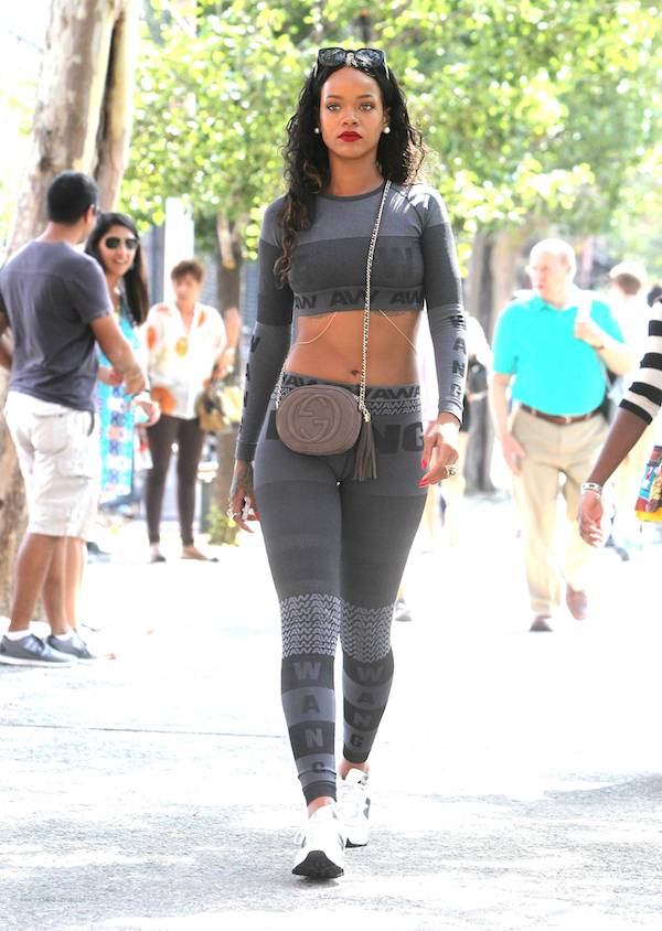 Rihanna's crop top and leggings look -- yay or nay? Source: Fashion Bomb Daily
