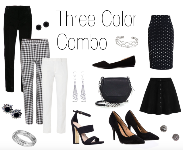 Three Color Combo: black and white
