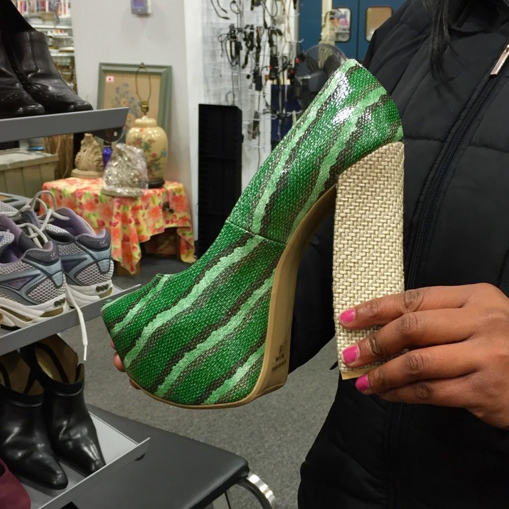 Green snakeskin heels