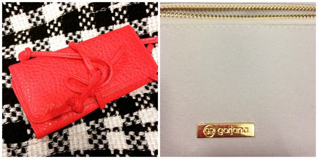 red Gorjana tie clutch