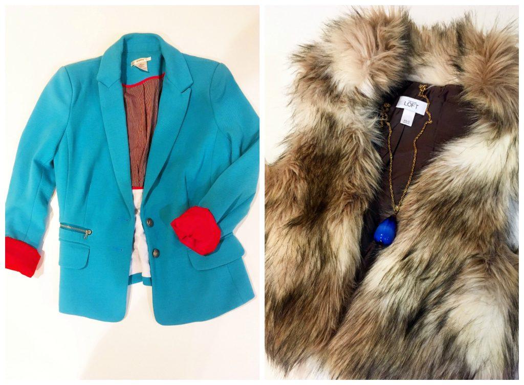 Picture Collage of blue and orange Esley blazer and LOFT fur vest
