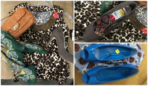 Picture collage of leopard print blouse, blue shoes, gray high heeled shoe, green scarf, and brown purse