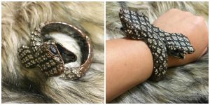 Collage of two pictures featuring a snake bracelet