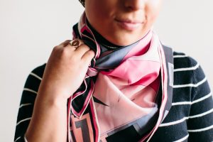 Close up of pink and black Emilio Pucci scarf.