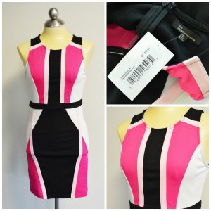 Pink, white, and black dress with art deco pattern
