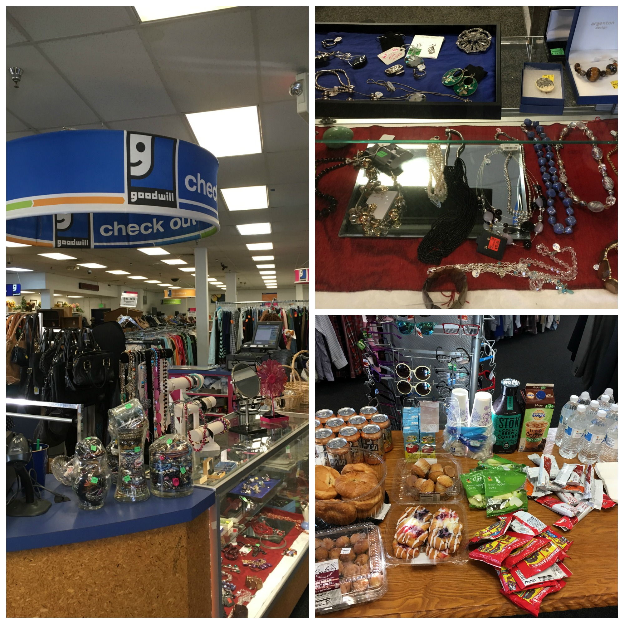 A collage of three pictures: one of the checkout counter of the Glebe Road Goodwill location, one of the Glebe Road jewlery case, and a third of the breakfast set out for the Meetup Attendees