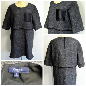 A collage of four pictures depicting a gray wool shift dress with black leather accents
