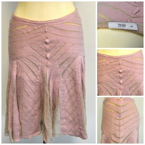 Prada Peasant Pleated Dusty Pink A-Line Skirt collage