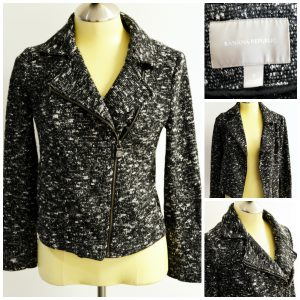 A collage of pictures that show a Banana Republic black, gray, white woven moto jacket