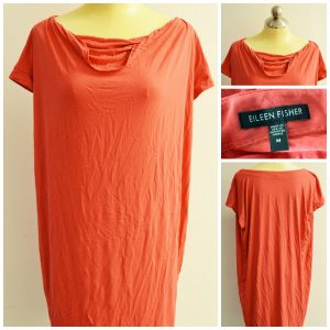 Collage of four pictures showing a coral Eileen Fisher sleeveless tunic