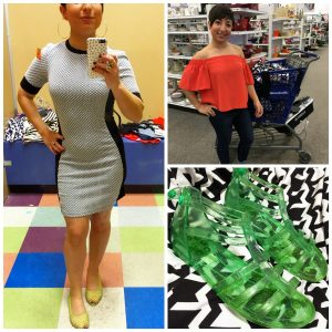 A collage of three pictures: one of the DCGF in a grey form fitting dress, another picture of the DCGF standing in front of a full shopping cart, and a third picture of green jelly shoes