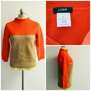 A collage of three pictures all showing different angles of a color blocking, tangerine and camel colored sweater