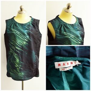 A collage of pictures showing different angles of a green, blue, and black watercolor Marni sleeveless blouse