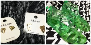 A collage of two pictures: one picture of two sets of gold earrings shaped like teeth and diamonds and the other picture of green jelly sandles