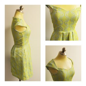 A collage of three pictures showing different angles of a short sleeveless dress that is lime green and bright yellow in a geometric pattern