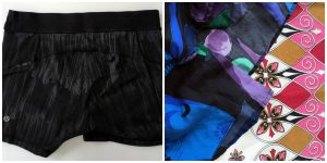 A collage of two pictures: one of black and gray Lululemon shorts and one with closeups of patterned and colorful shirts