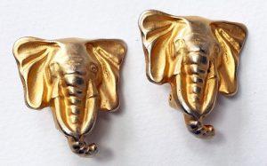 Gold Elephant head earrings