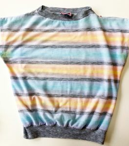 Vintage, preppy, shirt with gray collar and wasteband and with yellow, pink, blue, and gray stripes