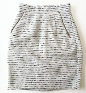 Work-appropriate white, black, and silver textured, Chanel-like skirt from H&M with zipper pockets