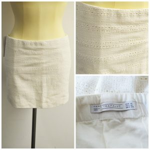 A collage of three pictures showing different angles of a cream colored, textured. Zara mini skirt