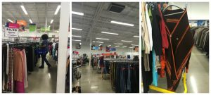 A collage of three pictures: one of a MeetUp attendee looking through the women's slacks racks at the Clinton Goodwill retail store; a middle one of the interior of the Clinton Goodwill retail store showing rows of full clothing racks; and a third one of a brown shawl on a rack at the Clinton Goodwill retail store
