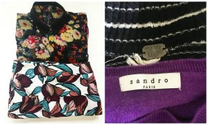 A collage of two pictures: one of them being two blouses, one darker with a floral pattern on it and the other a white one with an intricate brown and blue pattern and the other of two shirts: one purple one with a sandro paris tag and the other a white and black striped one with a We the Free+ tag