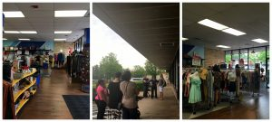 A collage of three pictures: the right one being the front of the Falls Church Goodwill location with racks and shelves of merchandise; the middle picture being of people standing outside of the front of the Falls Church Goodwill location waiting for the DCGF MeetUp to begin; and the right picture is another shot of the front of the inside of the retail store