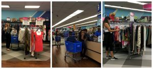 A collage of three pictures: the one on thr left being of a woman shopping the racks of the Falls Church Goodwill retail store; the middle being a woman purchasing items at the checkout of the Falls Church Goodwill store; and the picture on the left of a woman shopping the racks of the store