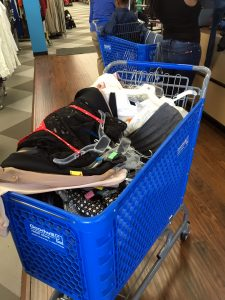A Goodwill cart full of items purchased at the Falls Church DCGF MeetUp
