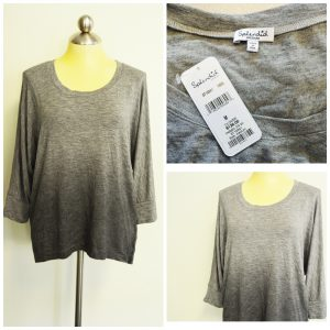 A collage of three pictures of a ombre gray splendid top. Two pictures are of the top on a mannequin and the third is of the original sales tags