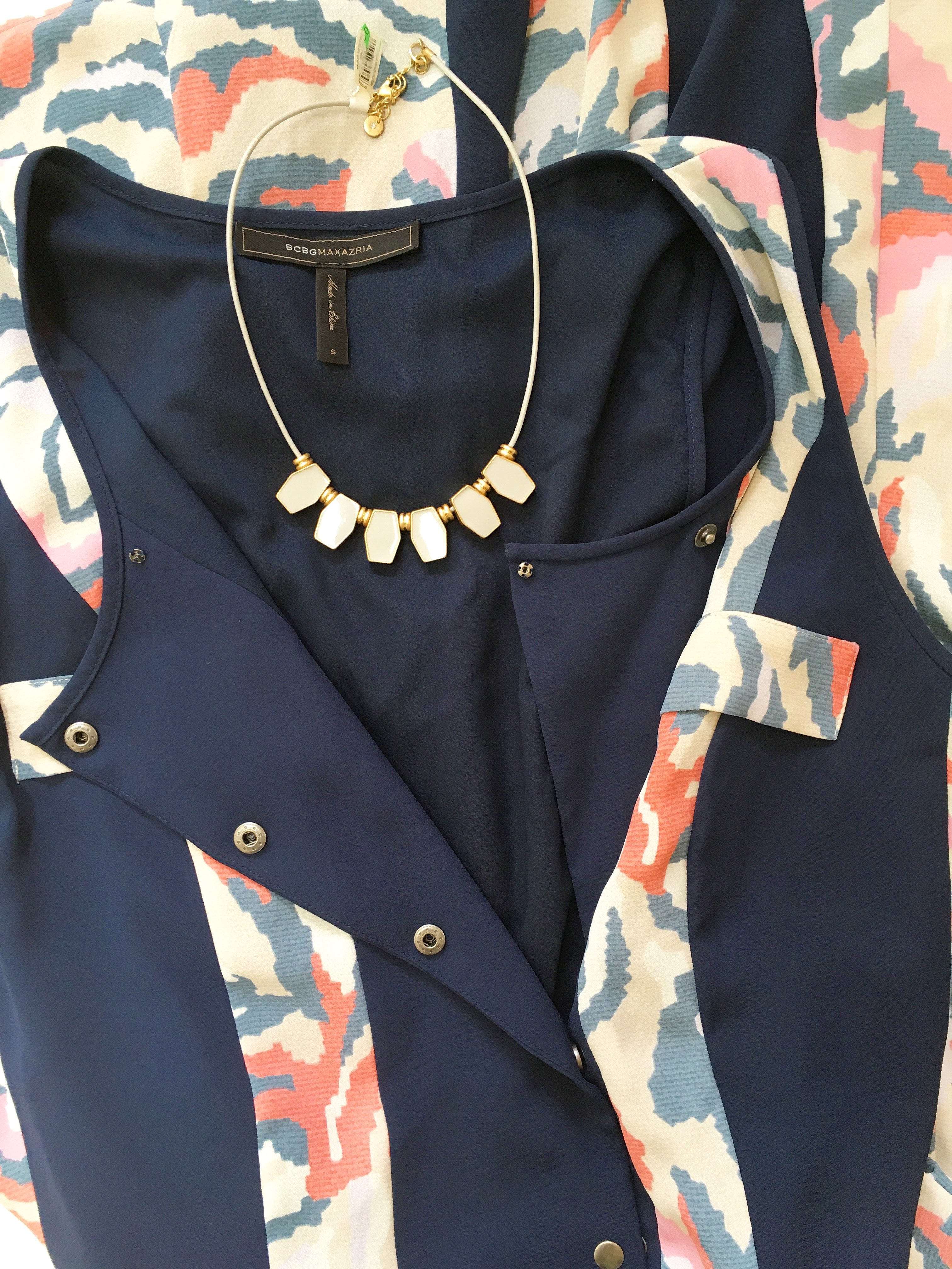 loft necklace and BCBG dress