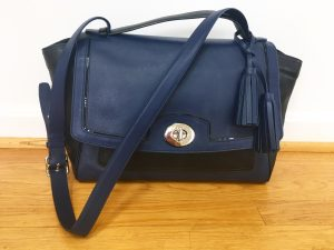 Picture of a black and blue Coach purse