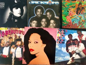 A picture of 6 vinyl record covers, one of Janet Jackson, one of Diana Ross, one of the Jackson Five, among others