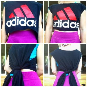 A collage of four pictures: top right of a woman's midsection in a purple skirt and an Adidas mid rift DIY shirt, the top left is the same picture except the shirt is now loose, the bottom right is of the back of the shirt which shows the shirt is tied in a knot, and the bottom left is the same picture except at an angle