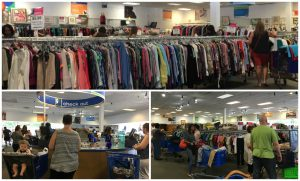 A collage of three pictures: the top largest one is of one of the women's cloths racks at the Alexandria Goodwill of Greater Washington store, the bottom left is of the check out cash wrap at the same store with customers around it, and the bottom right one is of customers shopping around the store