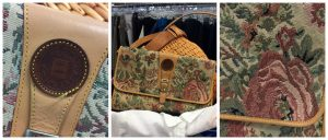 A collage of three pictures of a vintage Fendi purse: the first one on the left is of a close up of the purse's round, leather, logo, the middle one is of the whole purse itself, and the last one on the right is a close up of the purse's floral stitching pattern