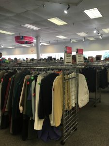 A picture of the women's clothing racks at the Alexandria Goodwill of Greater Washington retail store