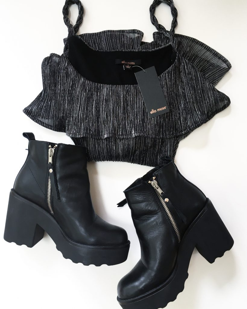 Ella Moss blouse and Steve Madden Boots