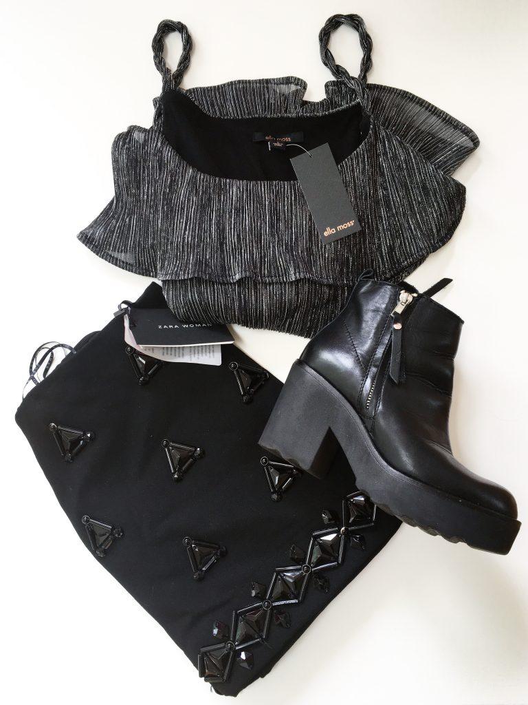 Ella Moss blouse, Zara skirt, and Steve Madden boot
