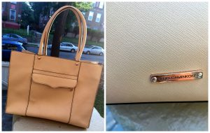 A collage of two pictures: the one on the left shows a tan, leather, Rebecca Minkoff purse, the picture on the right shows a close up of the brand plate on the purse.