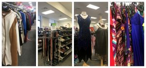 A collage of four pictures: the one on the left is looking down a rack of cloths in a Goodwill retail store with a white and tan jacket at the front of the rack; the picture second from the left is of racks of shoes and leather belts; the one second from the right shows two mannequins, one with a blue sequin dress and the other with a olive green sleeveless woman's shirt; and the picture all the way on the right is a closeup of colorful cloths on a rack in a Goodwill retail store