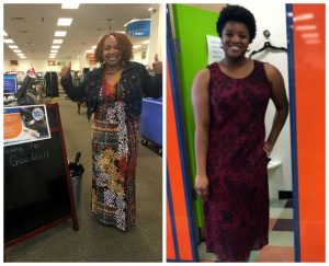 A collage of two pictures: the left picture is of an African American woman in a floral dress and jean jacket standing next to a chalkboard A-frame sign holding two thumbs up; the picture on the right is of an African American woman standing outside of colorful dressing rooms in a deep red dress
