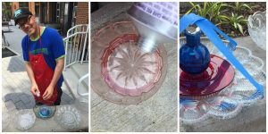 A collage of three pictures: the one on the left is of Tim Kime (a man in a blue shirt, red smock, black hat, with glasses and a goatee) gluing together a DIY flower; the middle picture is a close up of a tube of glue over a small pink bowl that will be part of a DIY flower, and the right picture is of a DIY flower made from a clear plate, a red plate, and a blue vase being held in place by blue painters tape as the glue dries
