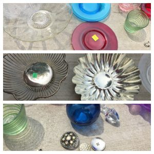 A collage of three pictures: the top one has blue and red plates, a clear bowl, and colorful glass cups; the middle one is of a metal jello mold and slotted bowl; and the bottom on is of a blue vase, colorful buttons, and a green glass